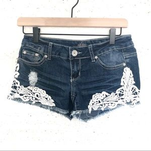 Almost Famous | Distressed Denim Shorts with Lace
